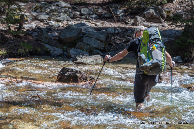 Chip Roser fording Pettit Lake Creek, Sawtooth Wilderness, Idaho.