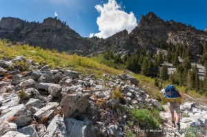 Nate backpacking Trail 95 to Alice Lake, Sawtooth Mountains.