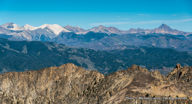 Idaho's White Cloud Mountains, with Castle Peak on the right, seen from the Sawtooth Mountains.