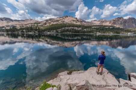 A young girl hiker at Imogene Lake, Sawtooth Mountains, Idaho.