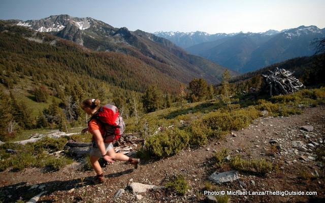 My wife, Penny, hiking the Chelan Summit Trail above Stehekin, Wash.