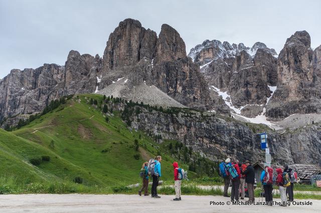 Bus stop, Gardena Pass, Dolomites.