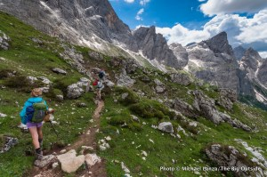 My family trekking through the Dolomite Mountains in Italy.