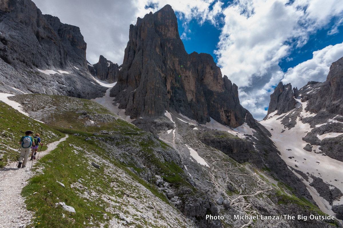 Trekkers on the Alta Via 2 in Parco Naturale Paneveggio Pale di San Martino, in Italy's Dolomite Mountains.