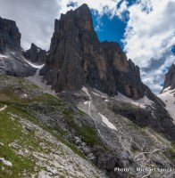 The Alta Via 2 south of Rifugio Rosetta, in Paneveggio-Pale di San Martino Nature Park, Dolomite Mountains, Italy.