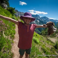 My daughter Alex on the trail to Spider Gap, Glacier Peak Wilderness, Washington.