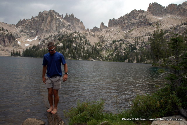 David Ports at Baron Lake, Sawtooth Mountains.