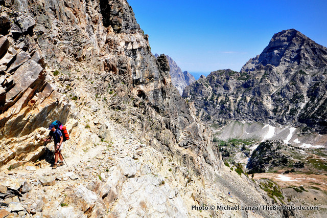 Bill Mistretta hiking over Paintbrush Divide, Grand Teton National Park.