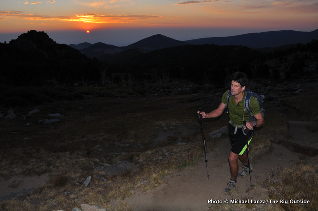 A hiker at dawn on the Bears Ears Trail in the Wind River Range.
