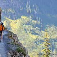 Hiker on the Highline Trail, Glacier National Park.
