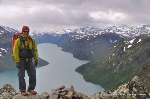 Michael Lanza of The Big Outside trekking Besseggen Ridge in Norway's Jotunheimen National Park.