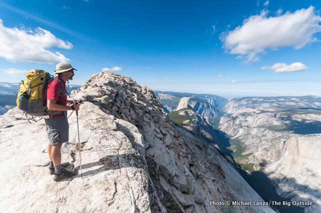 Mark Fenton staying light on Clouds Rest during a three-day, 65-mile hike in Yosemite National Park.