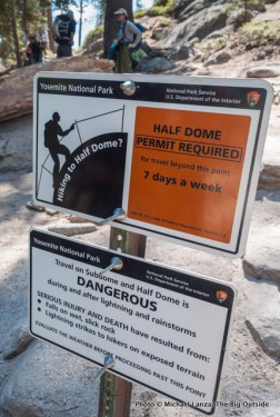 Sign on Half Dome Trail.