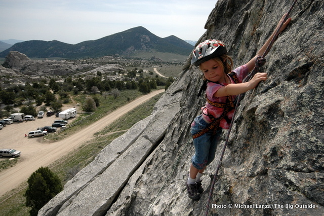 My daughter, Alex, then six, getting her focus at Idaho's City of Rocks.