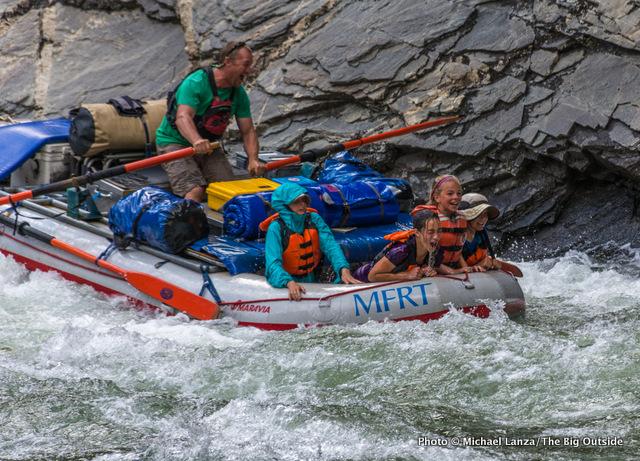 Matt's raft in Cliffside Rapid, Middle Fork Salmon River.