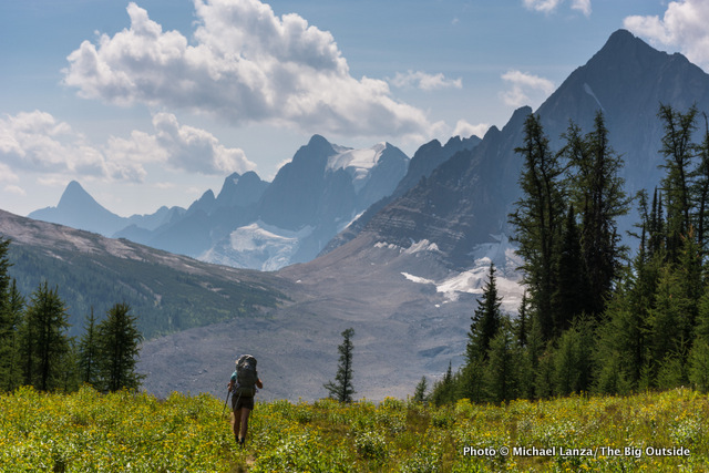 My wife, Penny, backpacking the Rockwall Trail, Kootenay National Park, Canadian Rockies.