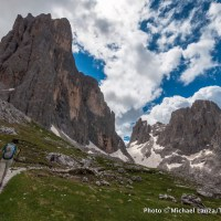 Trekking the Alta Via 2 in Parco Naturale Paneveggio Pale di San Martino, Dolomite Mountains, Italy.