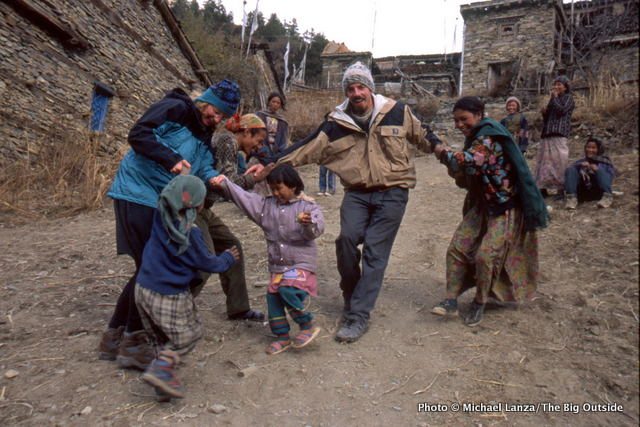 Children greeting trekkers in Upper Pisang on Nepal's Annapurna Circuit.