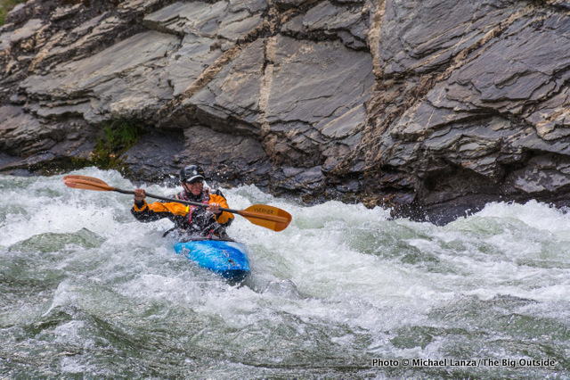Jeff Wilhelm kayaking Cliffside Rapid, Middle Fork Salmon River, Idaho.