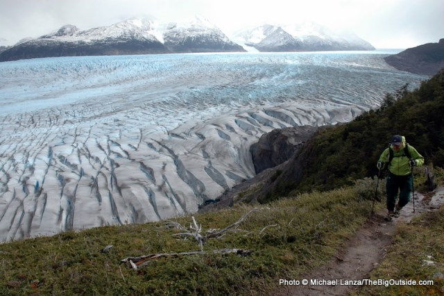 Hiking above the Grey Glacier, Torres del Paine National Park, Chile.