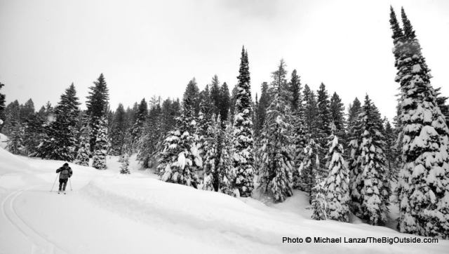 Vince Serio cross-country skiing in Idaho's Boise Mountains.