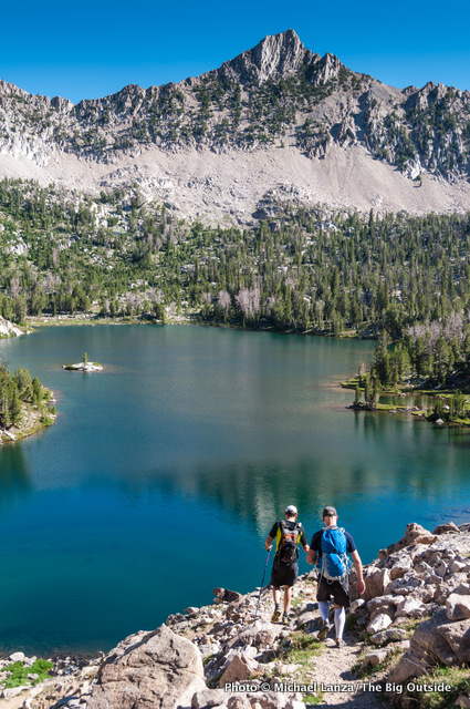 Hikers above the upper Boulder Chain Lakes, White Cloud Mountains, Idaho.