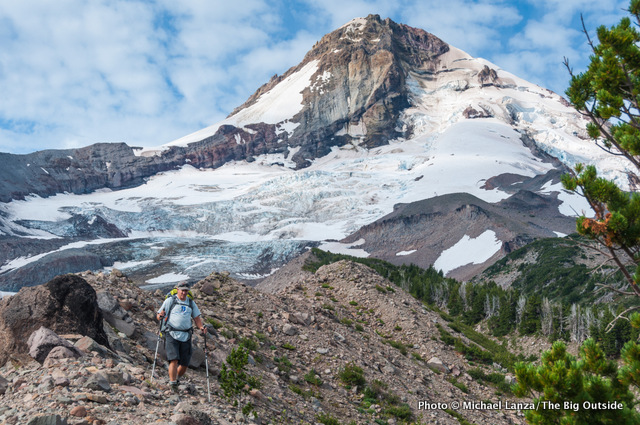 A backpacker on the Timberline Trail around Mount Hood, Oregon.