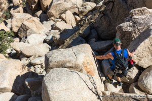 Scrambling off a rock climb in Joshua Tree.