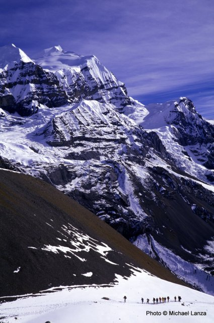 Trekkers en route to the Thorung-La pass, at nearly 18,000 feet, on Nepal's Annapurna Circuit.