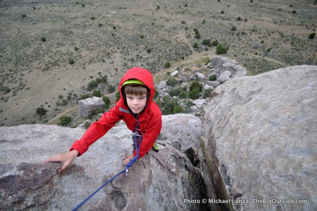 Nate, age 11, rock climbing at Idaho's Castle Rocks State Park.