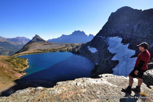 Hiker at Sue Lake Overlook, Glacier National Park.