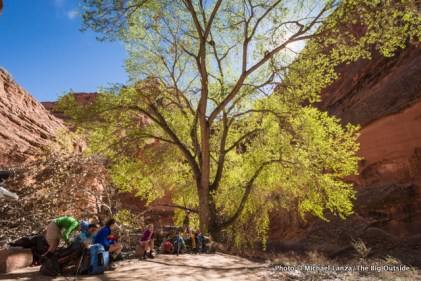 Lunch on day two, Paria Canyon.