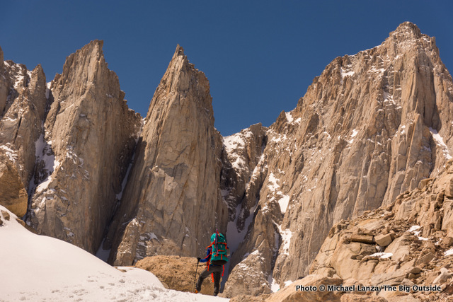 My son, Nate, below Mount Whitney's East Face on a climb of The Mountaineers Route.