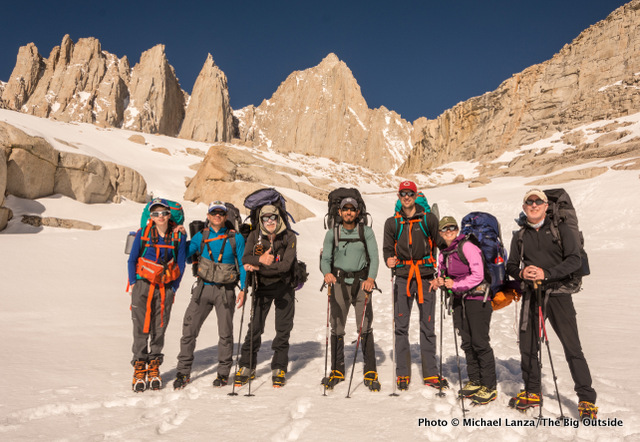 From left: Nate, me, John Kelly, Frank Weber, Nick Ornella, Molly Baab, and Tim Brosnan at high camp below Mount Whitney.