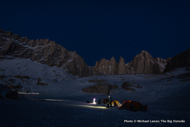 High camp at 12,000 feet below the East Face of California's 14,505-foot Mount Whitney.