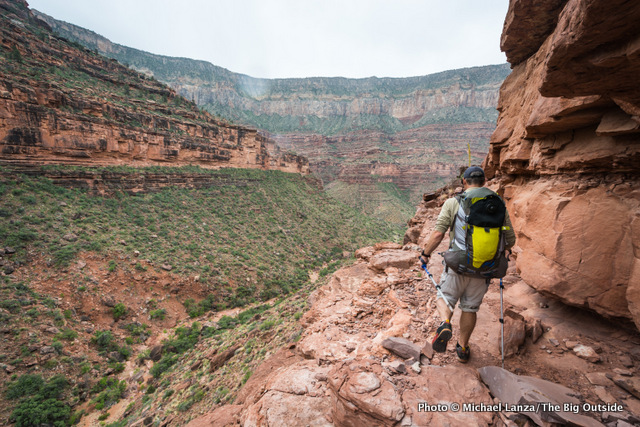 David Ports on a ledge high above Royal Arch Canyon in the Grand Canyon.