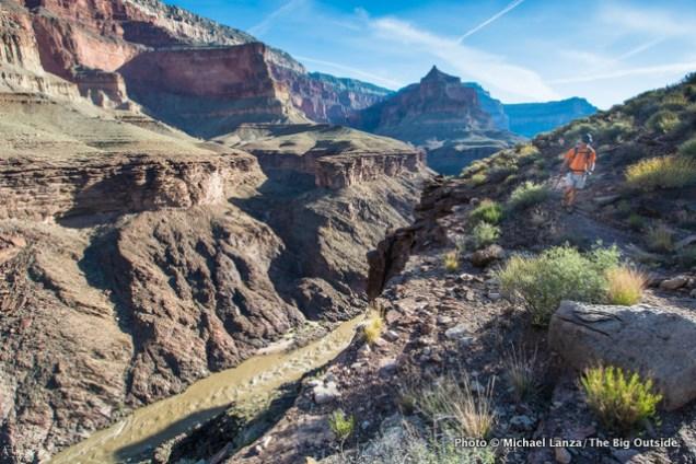 David Ports hiking the Tonto Trail, Royal Arch Loop, Grand Canyon.