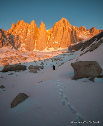 Dawn light on Mount Whitney's East Face.