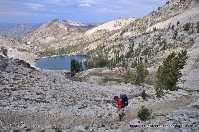 Jeff Wilhelm backpacking above Arrowhead Lake in Idaho's Sawtooth Mountains.