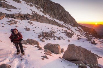 John Kelly below Whitney's East Face on summit day.