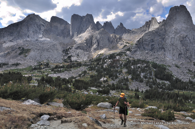 A hiker in the Cirque of the Towers, Wind River Range.