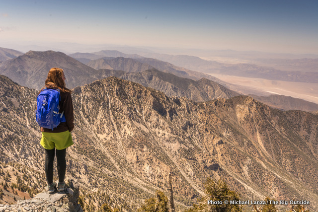 Rosie Mansfield enjoying the view from the 11,049-foot summit of Telescope Peak, Death Valley National Park.