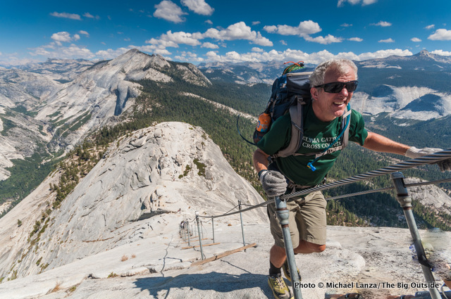 Jeff Wilhelm hiking the cable route up Half Dome, Yosemite National Park.