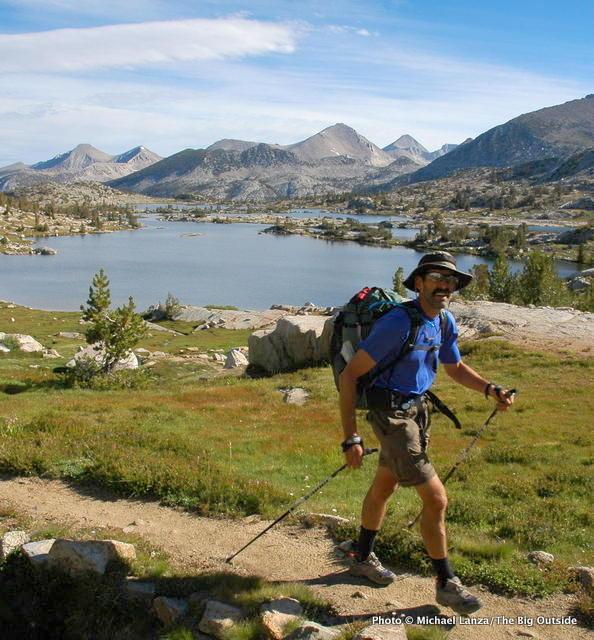 Mark Fenton passing Marie Lake on the John Muir Trail.