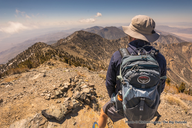 Osprey Manta AG 20 daypack on Telescope Peak in Death Valley National Park.