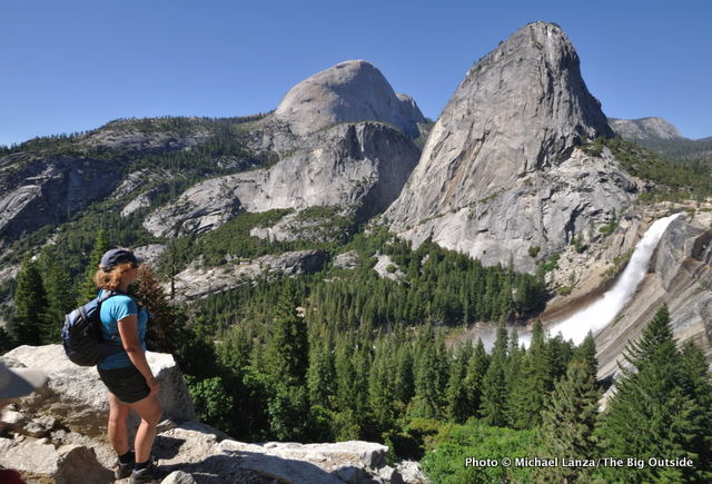 On the John Muir Trail overlooking Half Dome, Liberty Cap, and Nevada Fall.