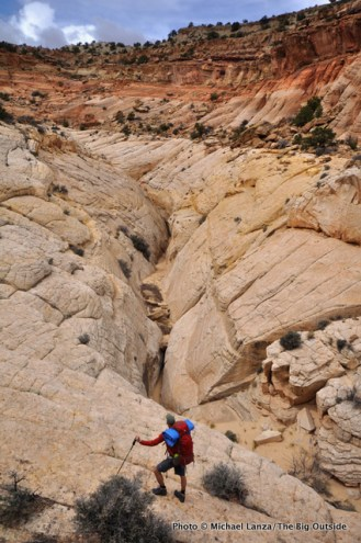 Backpacking across the Waterpocket Fold, Capitol Reef National Park.