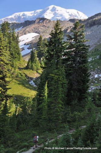 Hiking below The Mountain in Mount Rainier National Park.