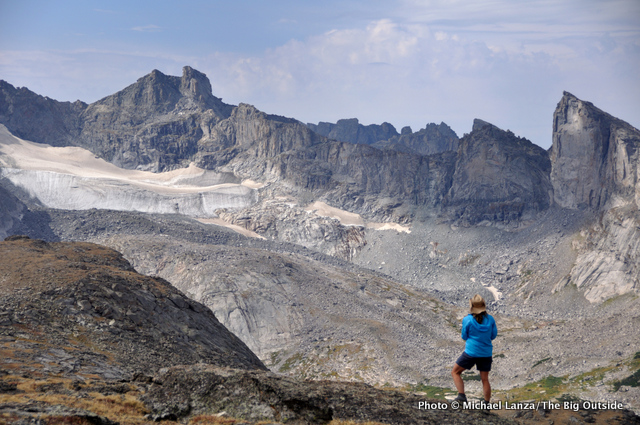 Shelli Johnson hiking across the Lizard Head Plateau, Wind River Range, Wyoming.
