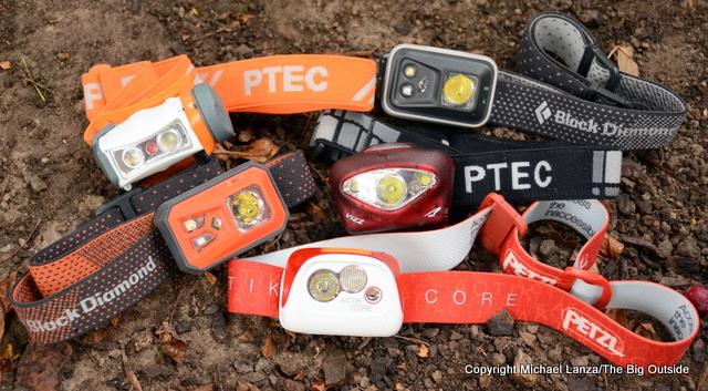 Clockwise from bottom: Petzl Actik Core, Black Diamond ReVolt, Princeton Tec Sync, Black Diamond Spot, Princeton Tec Vizz.